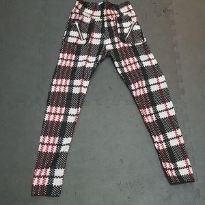 Indero plaid fleece like leggings Red, Black S/M